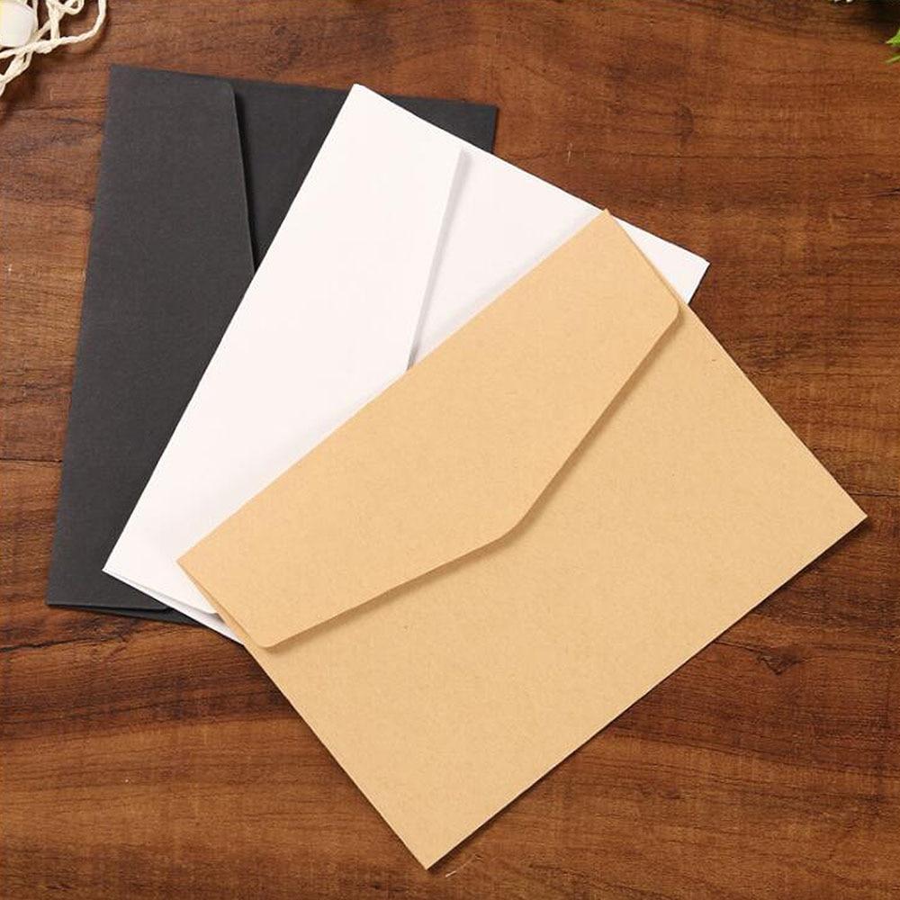 50pcs/lot Black White Craft Paper Envelopes Vintage European Style Envelope For Card Scrapbooking Gift 12.5*17.5cm