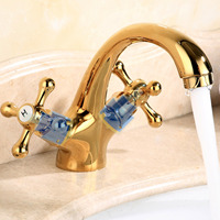 Vintage Brass Hot Cold Sink Water Faucet Basin Mixer Tap with 2 Hoses for Home Office Hotel Restaurant Kitchen Bathroom