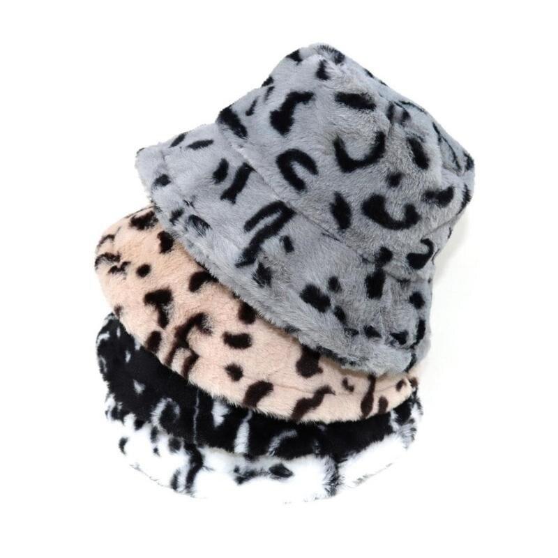 Faux Fur Leopard Fluffy Hat Women Girl Winter Outdoor Travel Tie Dye Plaid Panama Hats Hick Summer Warm Fisherman Bucket Cap New