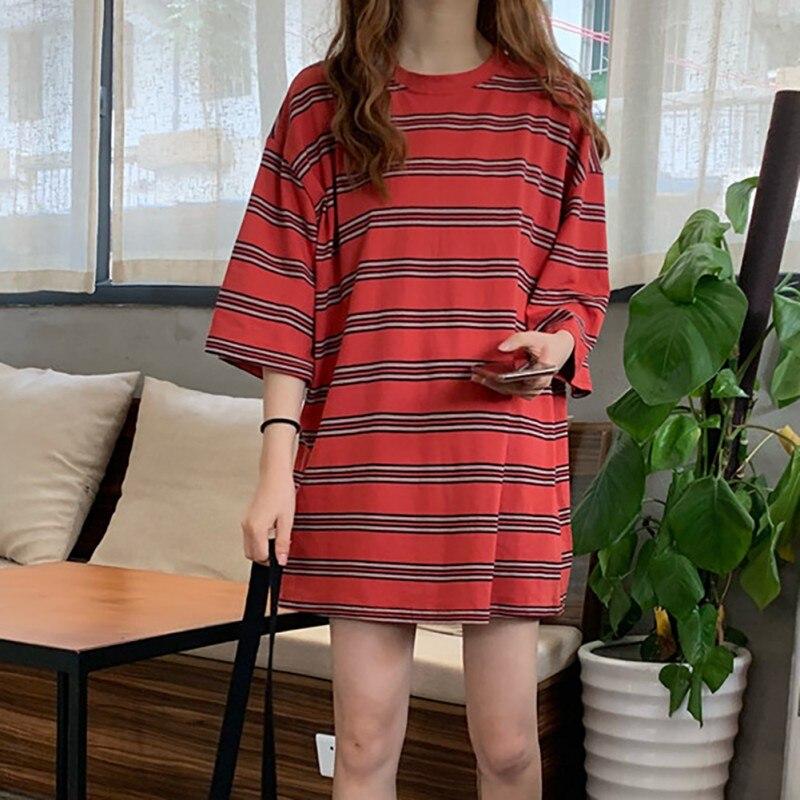 DAll Match Loose Casual Women T-Shirt Plus Size Striped Print O-Neck T-Shirts 2019 Summer Autumn Fashion Half Sleeve Tee Tops