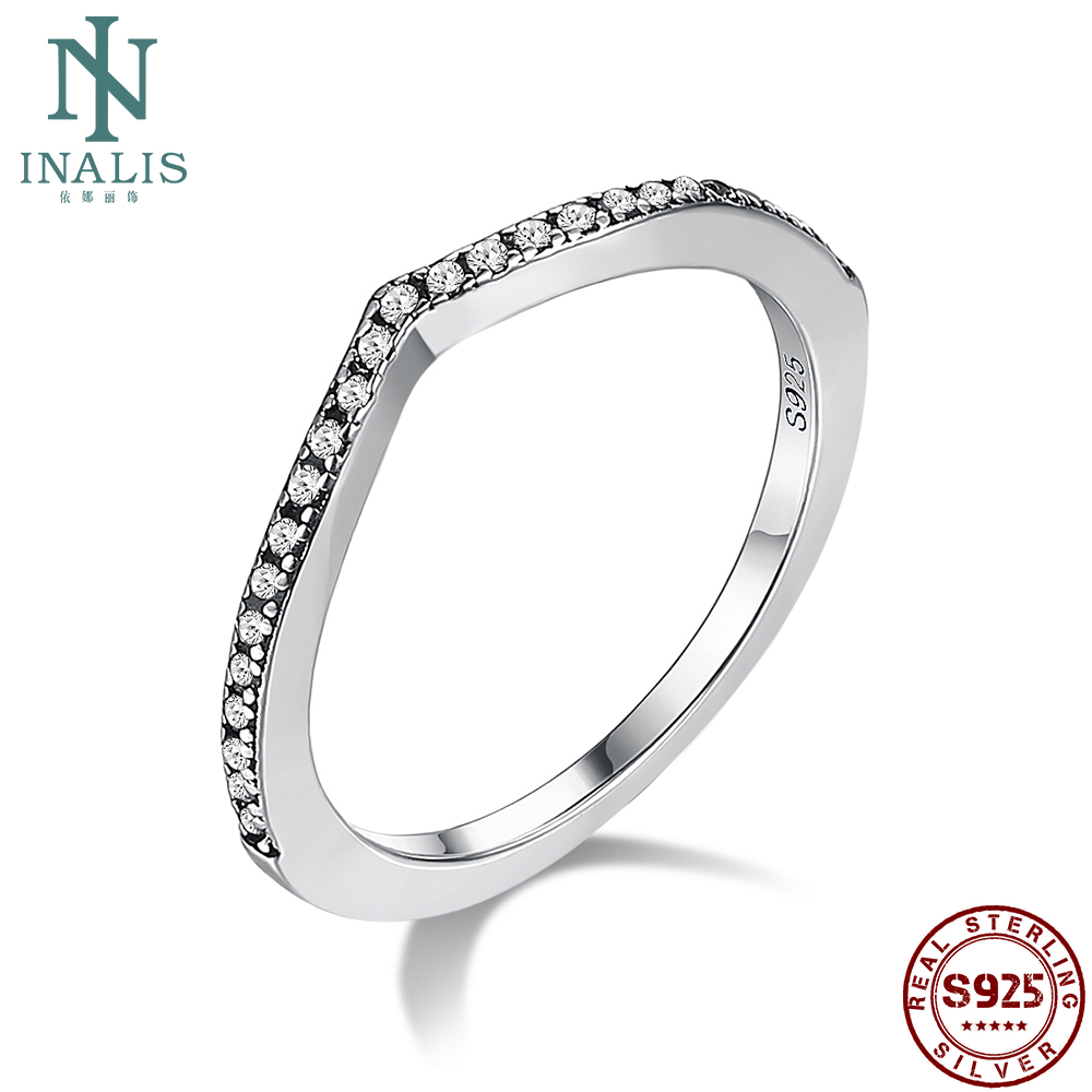 INALIS Romantic Water Drop 925 Sterling Silver Rings For Women Shiny 5A Clear Cubic Zirconia Simple Ring Wedding Fine Jewelry
