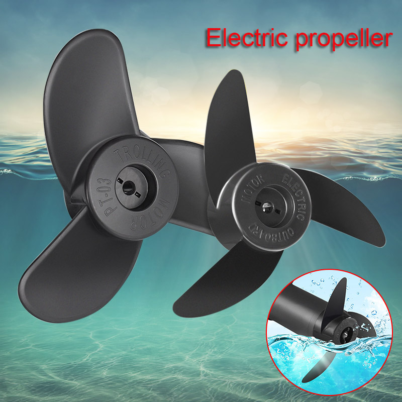 Motor Boat Propellers Electric Engine Outboard Electric Trolling Motor Outboard Propeller 3 Blades Black