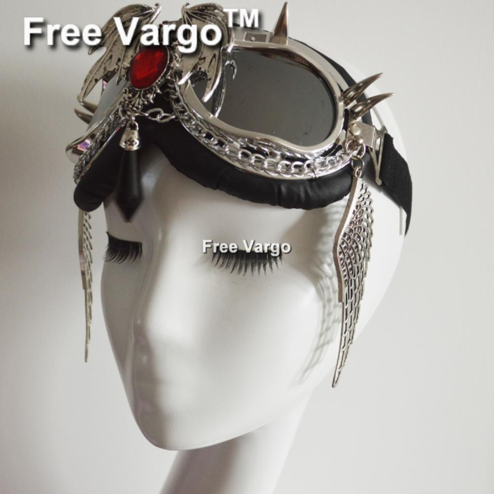 Holographic Rave Streampunk Burning Man Punk Devil Wing Festival Costume Cyber Goth Goggles Masquerade Mask For Women