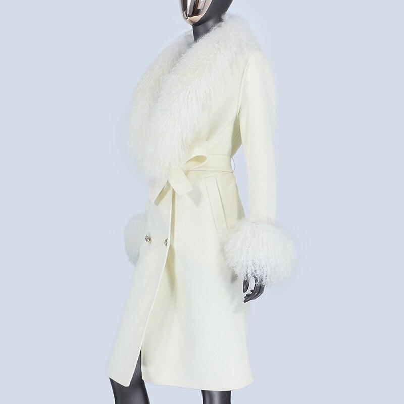 Hae3e7249c6144dbba582323c84ba322cP 2021X-Long Natural Mongolia Sheep Real Fur Coat Autumn Winter Jacket Women Double Breasted Belt Wool Blends Overcoat Streetwea