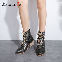 Donnain Fashion Black red yellow Snake Print Boots Women Casual Stacked High Heels Lace Up Ankle for Big Size 35-43