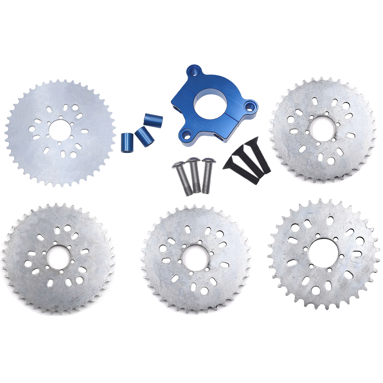 Pouvoir 32T 36T <font><b>38T</b></font> 40T 44T <font><b>Sprocket</b></font> Blue CNC Adaptor For 415 Chain Motorized Bike Bicycle image