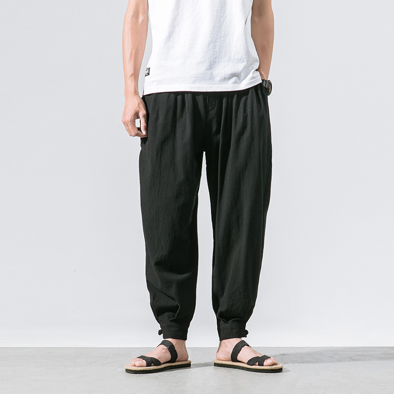 2018 Summer Wear Japanese-style Large Size Chinese-style Cotton Linen Trousers Men's Solid Color Thin Frog Skinny Pants Men'S We
