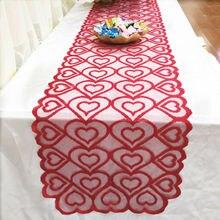 Un mantel retro de boda bordado mantel corazón camino de mesa cubierta mantel para mesa de comedor mesa de centro para el hogar