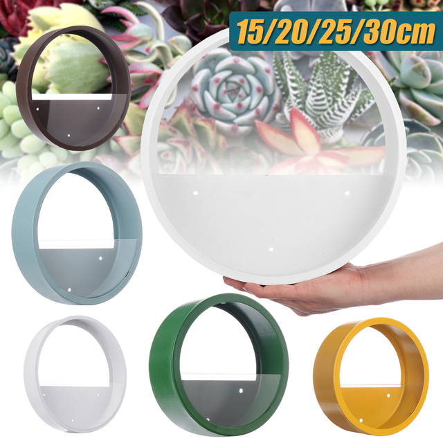 Wall Vase Metal Iron Art Solid Color Round Vase Artificial Flower Basket Wall Planter Hanging Vases for Home Decoration Crafts 1