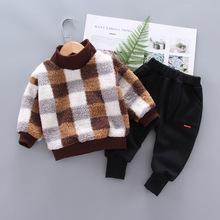 YK6054 dziecięce kombinezony zimowe 2019 nowe chłopięce jesienne ubrania plus aksamitne pogrubienie ubranka chłopięce dla niemowląt tanie tanio LOVEYUKAI Streetwear COTTON Pasuje mniejszy niż zwykle proszę sprawdzić ten sklep jest dobór informacji Unisex Plaid