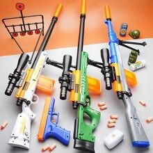 Rifle de francotirador para niños, Arma de juguete suave, Arma de balas, desmontada, AWM, Chico, tiro de escopeta, Airsoft
