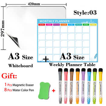 Magnetic Monthly Weekly Planner + Magnetic Whiteboard A3 Size Dry Erase Calendar Table Kitchen Recipe Memorandum Message Board - DISCOUNT ITEM  46 OFF Education & Office Supplies