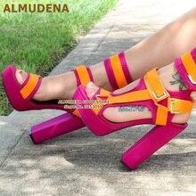 ALMUDENA Women Elegant Mixed Color Chunky Heel Sandals Platform Metal Buckle Strap Dress Shoes Orange Pink Burgundy Wedding Heel vintage women s sandals with solid color and chunky heel design