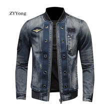 European Style Stand Collar Patch Bomber Pilot Blue Denim Jacket Men Jeans Coats Motorcycle Casual Outwear Clothing Overcoat