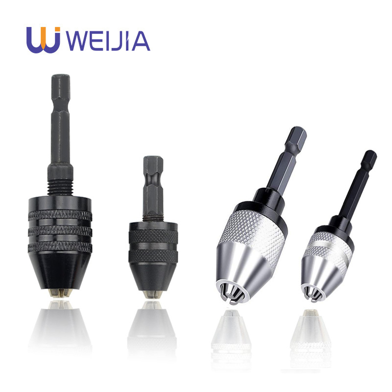 Hex Shank Keyless Drill Chuck 0.3mm-3.6mm 0.6mm-6.5 Mm Clamping Range Driver Tool Accessories Easily Into The Power Drill Driver