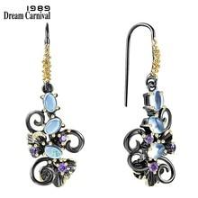 DreamCarnival1989-pendientes de flores Barroco para mujer, aretes colgantes Vintage, Joyas de piedras de circonia azul, WE3857BL