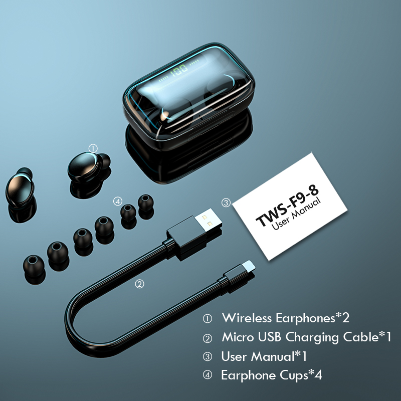 TWS Bluetooth 5.0 Earphones 2200mAh Charging Box Wireless Headphone 9D Stereo Sports Waterproof Earbuds Headsets With Microphone 6