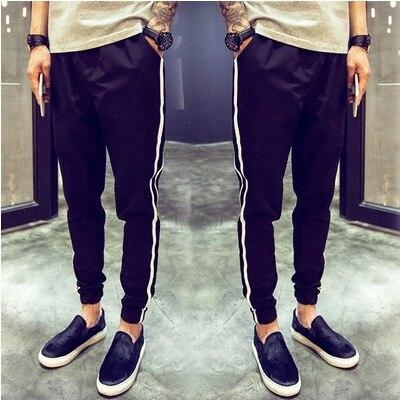 2016 Summer Men Casual Capri Pants Skinny Pants Slim Fit Ankle Banded Pants Fashion Man Korean-style Two Bars Athletic Pants Men