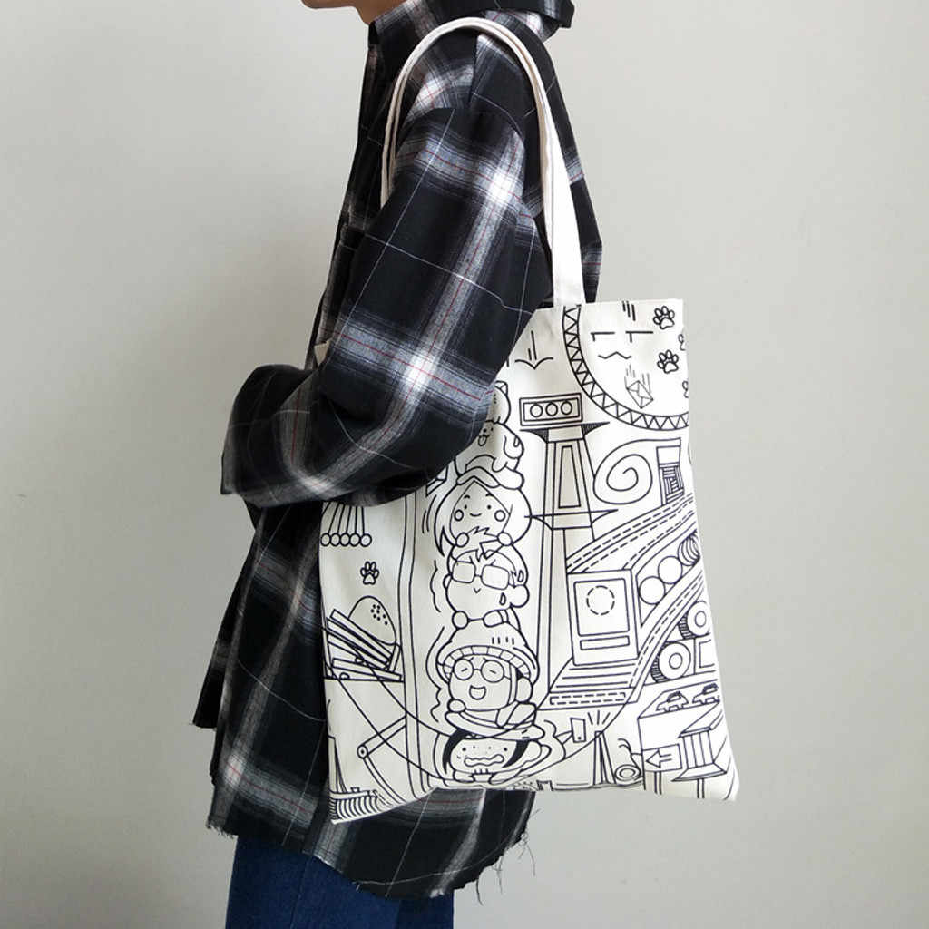 Women Canvas Printing Art Reusable Shoulder Bags Solid Color Large Capacity Multi-purpose Handle women Shopping Bags