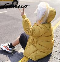Genuo New 2019 Down Parka Women with Big Fur Hooded Down Jacket for Women In Winter of 2019 Parka Women 5 Color S XXL