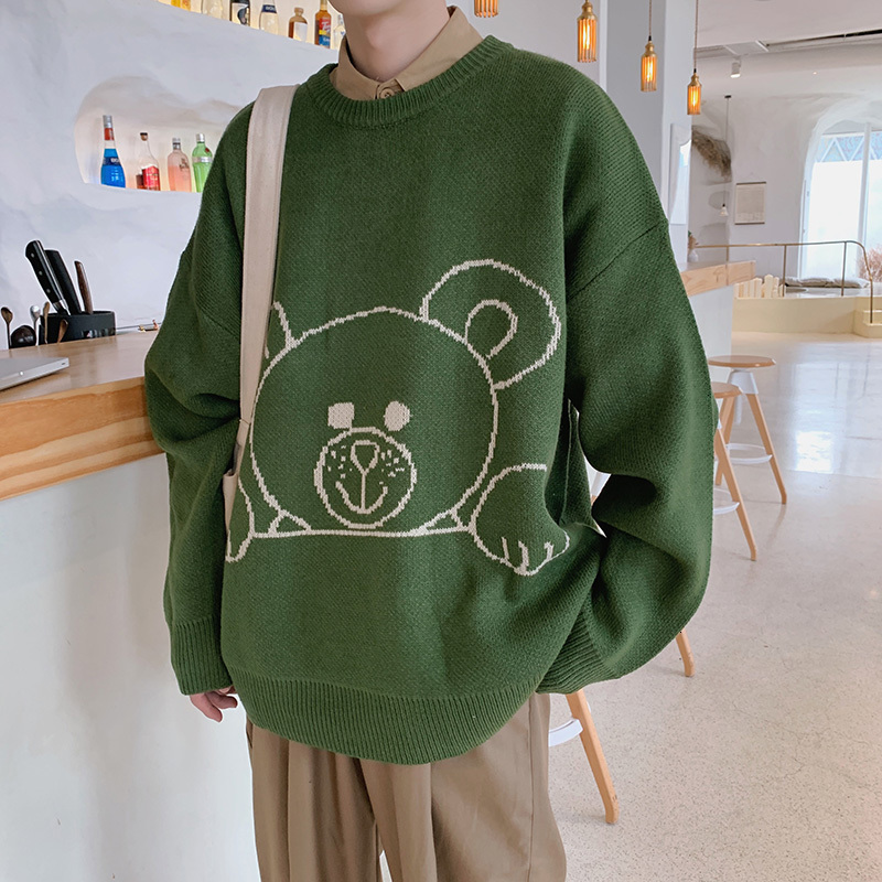 Winter New Sweater Men Warm Fashion Cartoon Casual O-neck Sweater Pullover Man Streetwear Wild Loose Long-sleeved Sweater M-2XL