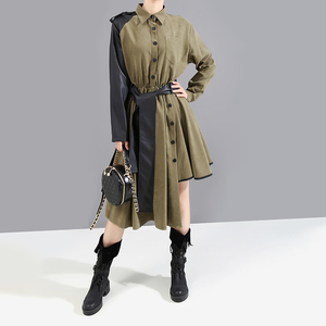 Image 2 - Manga larga verde militar Mujer 2020 invierno Midi vestido de camisa PU fajas Patchwork asimétrica señoras elegante vestido de fiesta estilo 5698