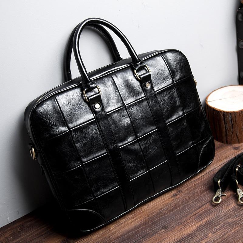 Vintage brand design Leather Men's HandBag Big 14″ Laptop Bag Plaid Waterproof Men Business Briefcase casual office work bags