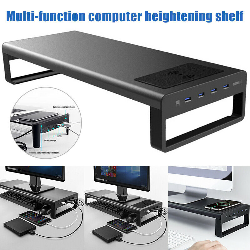 Wireless Charger Base Holder Aluminum Alloy Computer Laptop Base Stand With 4 USB 3.0 Port Monitor Stand Bracket Steady Monitor