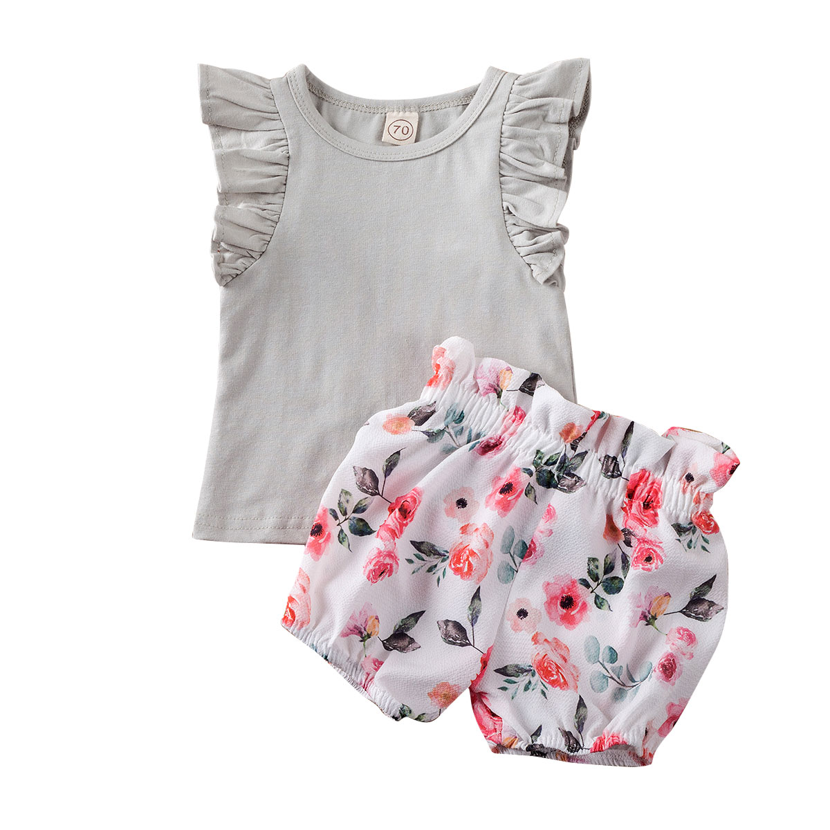 Newborn Infant Baby Girl Clothes Sets Ruffles Sleeve Solid Tops+Floral Shorts Pants Summer Outfit Clothes 3-18M