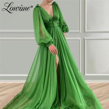 Формальные Зеленые Вечерние платья с v образным вырезом, элегантные вечерние платья с длинными рукавами 2020, шифоновое арабское выпускное пл