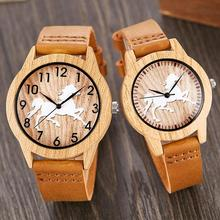 2PCS SET Imitation Wood Bamboo Watch Men Women Wristwatch Imitate Wooden