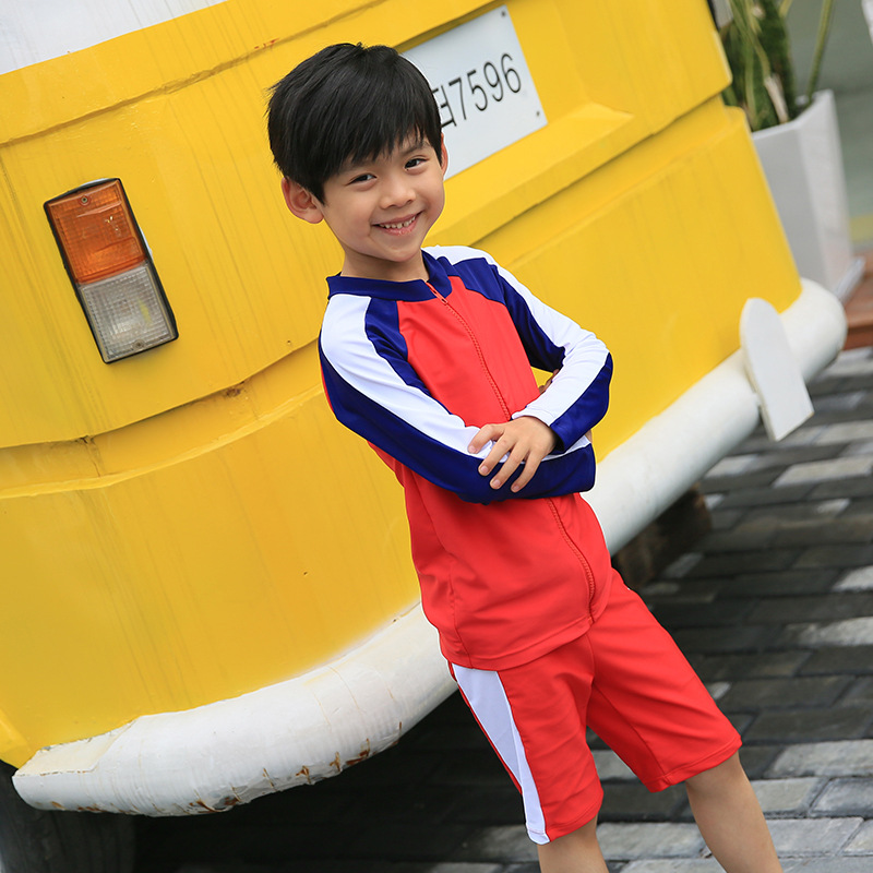 KID'S Swimwear BOY'S Baby Split Type Tour Bathing Suit South Korea Big Boy Kids Sun-resistant Quick-Dry AussieBum Set