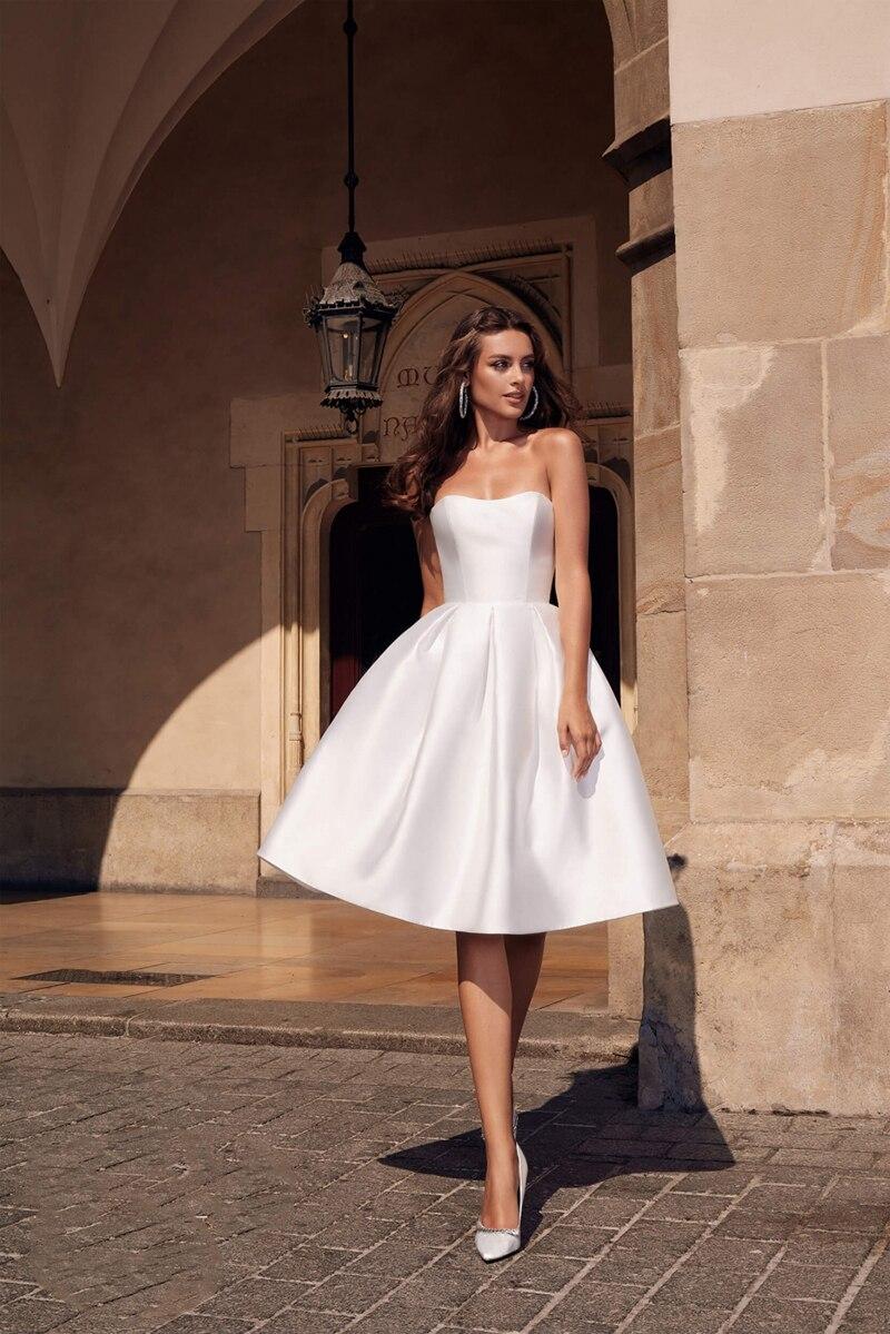 Verngo Simple A Line Wedding Dress Soft Satin Short Bridal Dress Elegant  Boho Wedding Gowns 18 Turkey Vestidos De Noiva