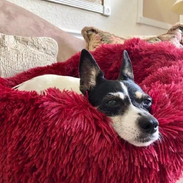 Long Plush Super Soft Dog Bed Pet Kennel Round Sleeping Bag Lounger Cat House Winter Warm Sofa Basket for Small Medium Large Dog 2