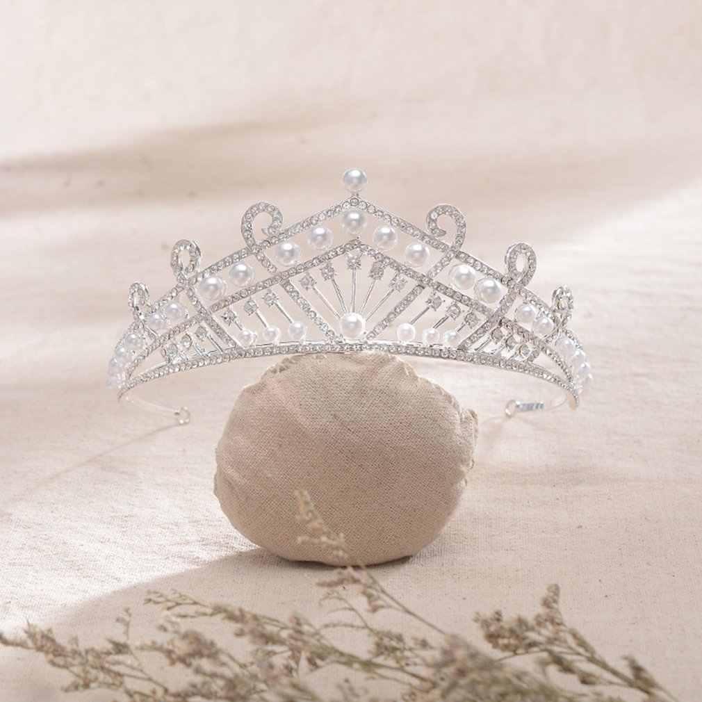 Perhiasan Kreatif Baroque Gaya Eropa dan Amerika Pernikahan Aksesoris Hg907 Alloy Putih Crystal Crown