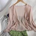 Sommer wilde beiläufige gestrickte kleine strickjacke für frauen top jacke Koreanische Rüschen V-ausschnitt bluse strickjacken hohl knit pullover frauen