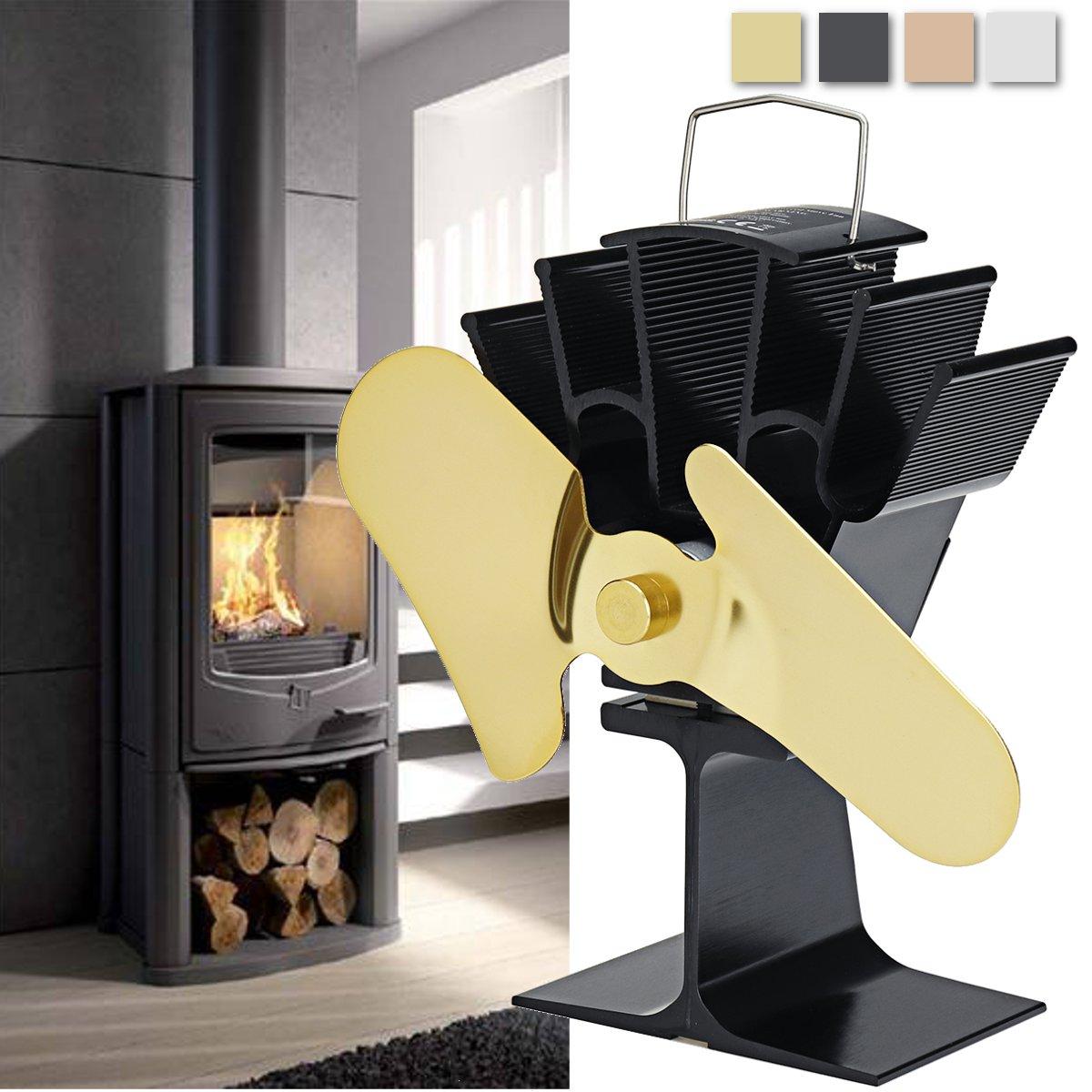 Алюминиевый 2 Лопасти вентилятор для печи, работающий от тепловой энергии деревянный бревно вентилятор для камина горелки тепловой
