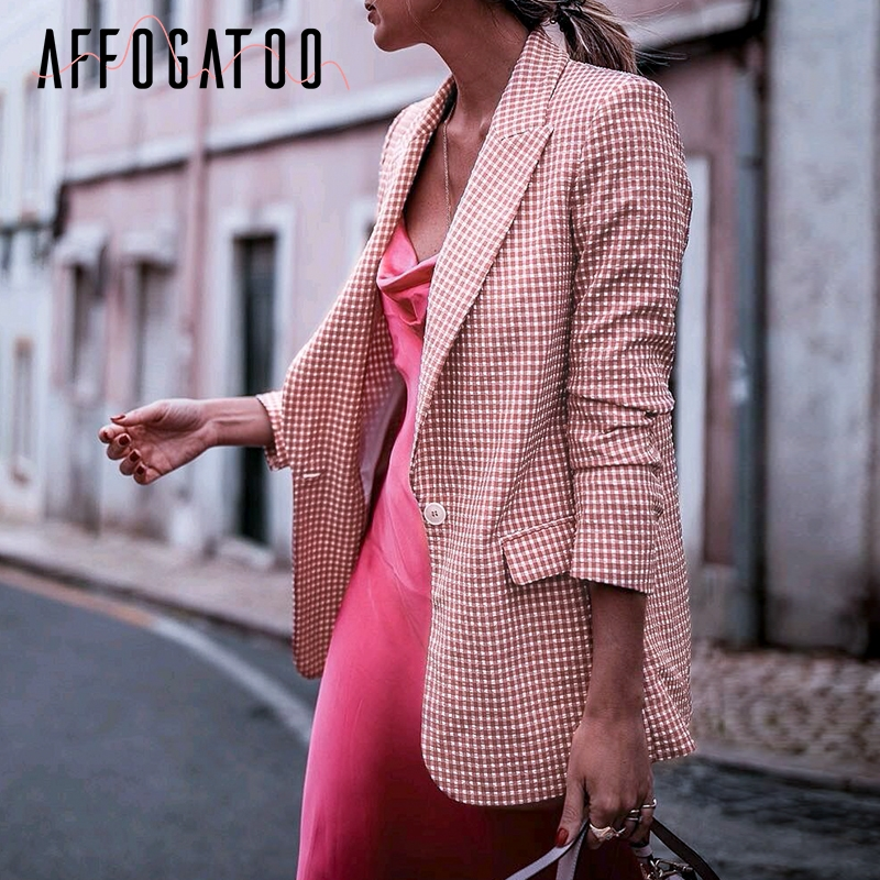 Affogatoo Elegant  Office Ladies Plaid Pink Blazer Women Casual Long Sleeve Pockets Button  Female Coats Outerwear Chic Coat Top
