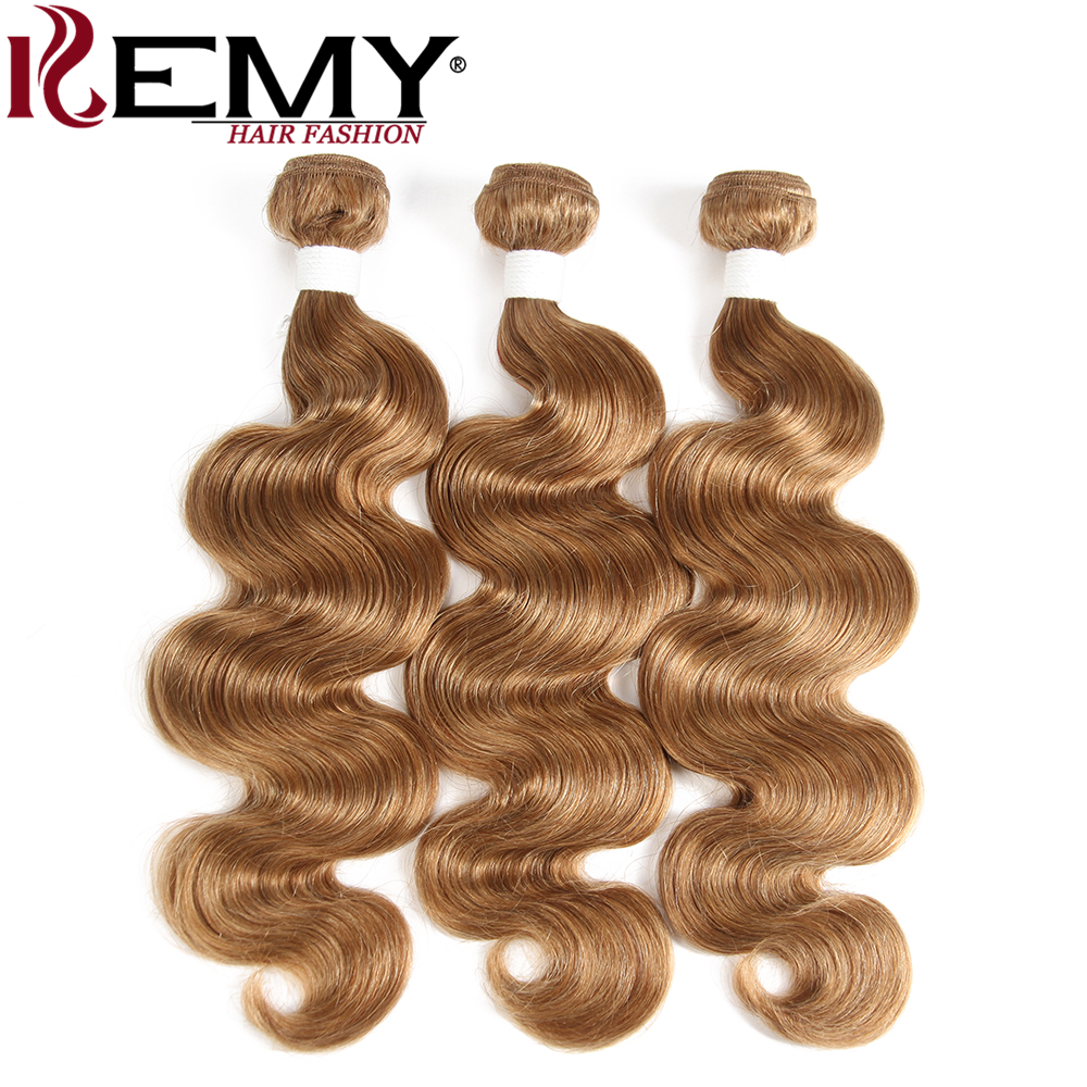 Image 3 - Light Brown 27# Brazilian Body Wave Human Hair Bundles With Frontal 13*4 KEMY HAIR 100% Non Remy Human Hair Weaves Bundle 3/4PCS-in 3/4 Bundles with Closure from Hair Extensions & Wigs