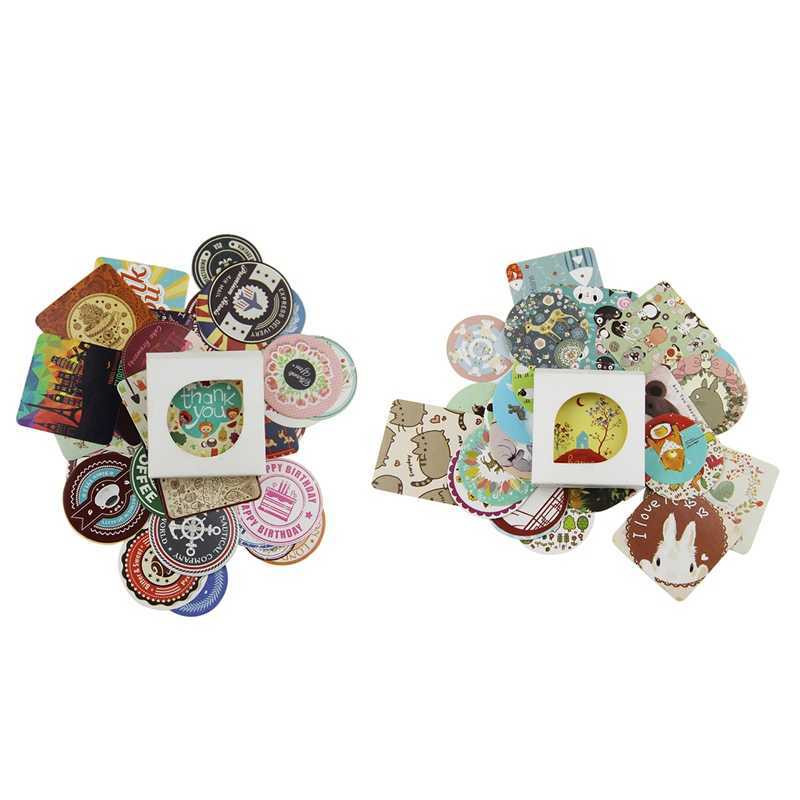 76 Pcs Decorazione del Diario Scrapbooking FAI DA TE Carino Kawaii Adesivo di Carta, 38 Pcs Animal & 38 Pcs Retro