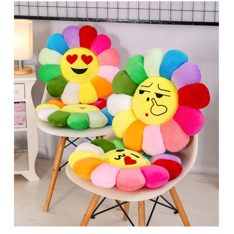 Cute Anime Smile Sun Flower Sunflower Plush Toy Stuffed Doll Cat Pet Cushion Mat Pillow Home Bedroom Car Shop Decor Gifts