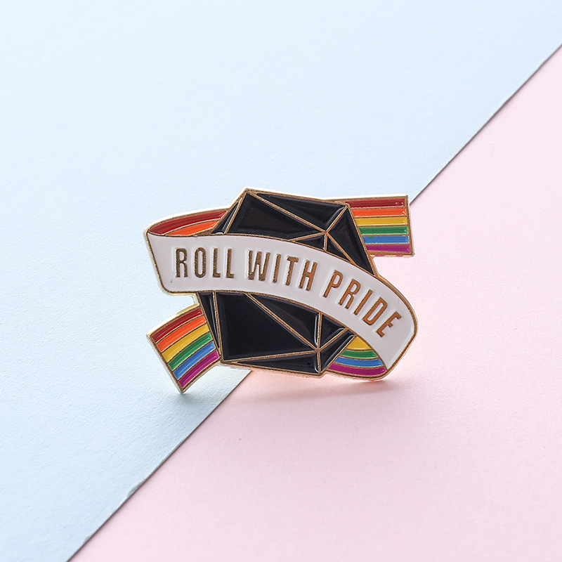 1pc LGBT <font><b>Pride</b></font> Rainbow Dice Lapel pin Badges Support Gay Lesbian <font><b>Bisexual</b></font> Transgender Symbol Tinplate Badge Jewelry Accessories image