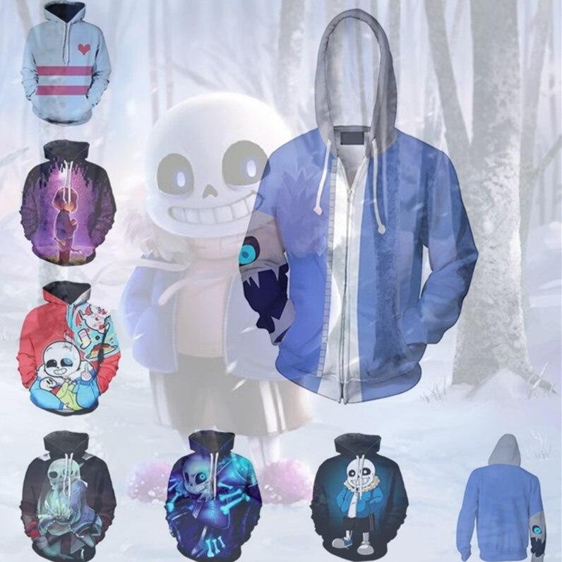 Men Women Undertale Frisk Sans Anime Pullover Hoodie Sweatshirt Cosplay Costume