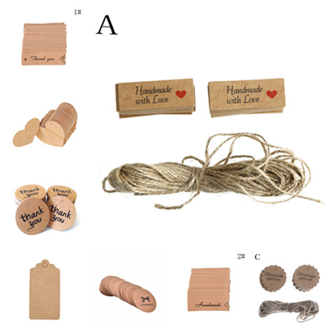 100PCS Kraft Paper Tags Made With Love Handmade With Love Kraft Head Label Wedding Party Decoration Gift Hang Tag