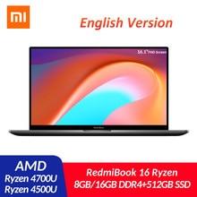 Xiaomi Mi RedmiBook 16 dizüstü bilgisayar 16.1 inç AMD Ryzen 4500U 4700U 8G/16G DDR4 512GB SSD windows 10 ultra ince 100% sRGB FHD dizüstü