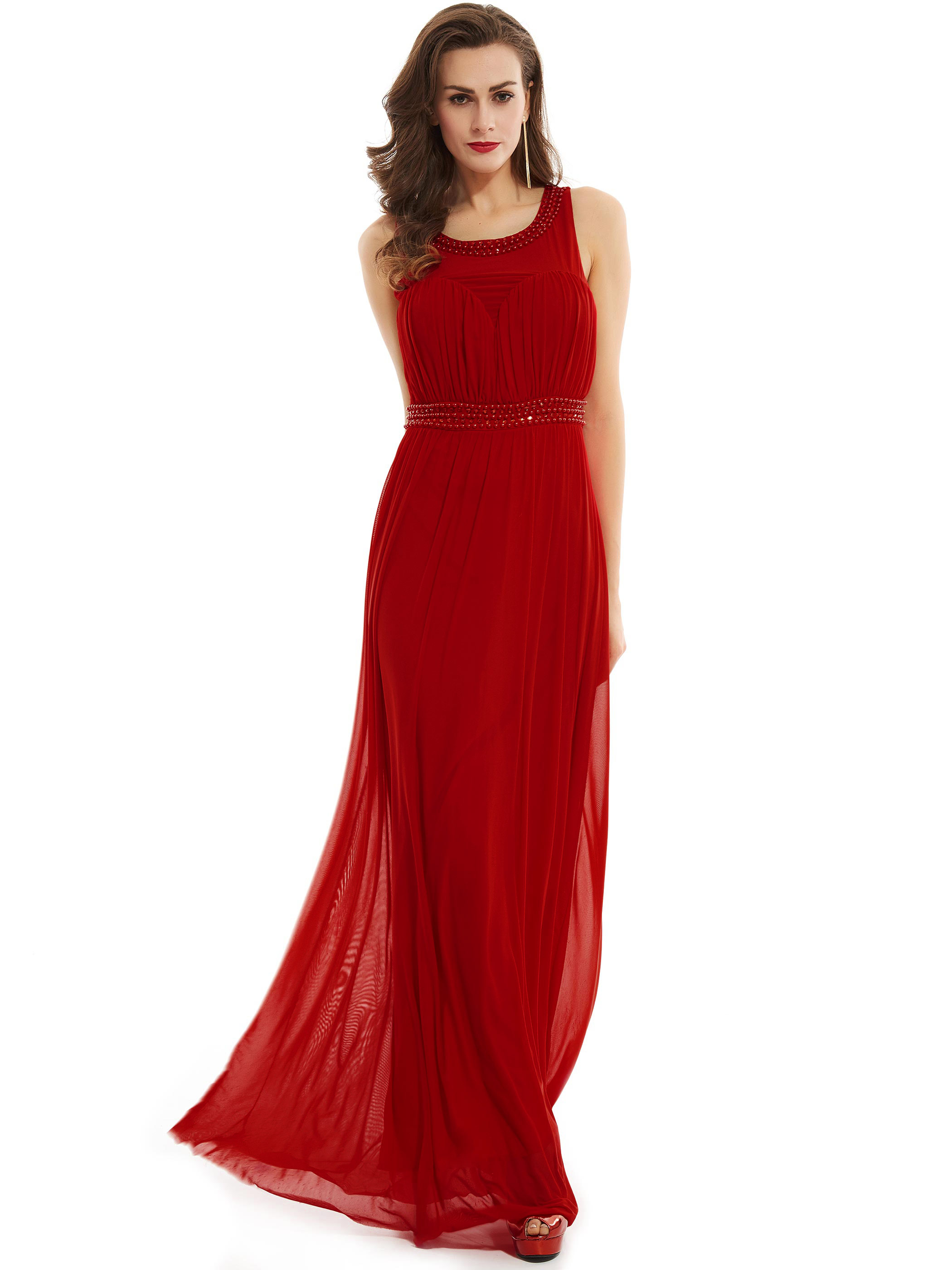 Dressv Scoop Long Evening Dress Red Sleeveless A Line Floor Length Gown Black Crystal Beaded Ruched Prom Formal Evening Dresses