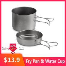 1100ML / 1600ML Titanium Pot Pan Set Water Cup Mug Titanium Cup Hang Pot Super Lightweight Camping Cookware Set Folding Handle