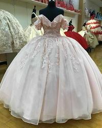 Manga curta fora do ombro quinceanera vestidos de baile vestido de baile rosa doce 16 meninas rendas frisado bandagem festa de formatura