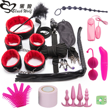 Set SM Sex Toys for Women Men Handcuffs Nipple Clamps Whip Spanking Sex Silicone Anal Plug Butt Bdsm Vibrator Bondage Set