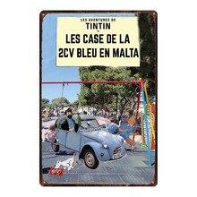 Tintin Cartoon Metal  Signs Plaque Vintage Wall Pub Kids Room Home Art Party Decor Iron Poster Cuadros DU-2923